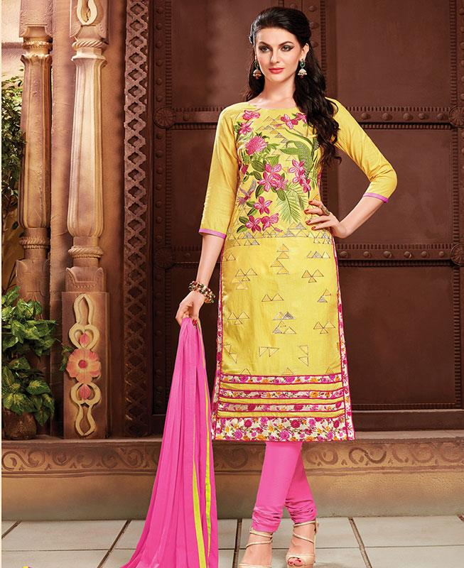 Embroidered Cotton Yellow Straight cut Salwar Kameez