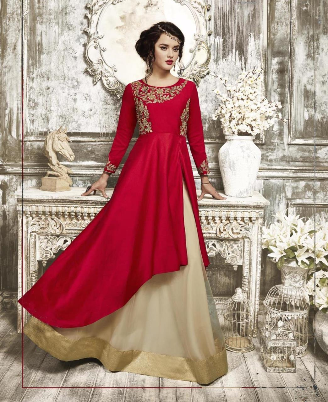 Embroidered Tafeta Red Abaya Style Salwar