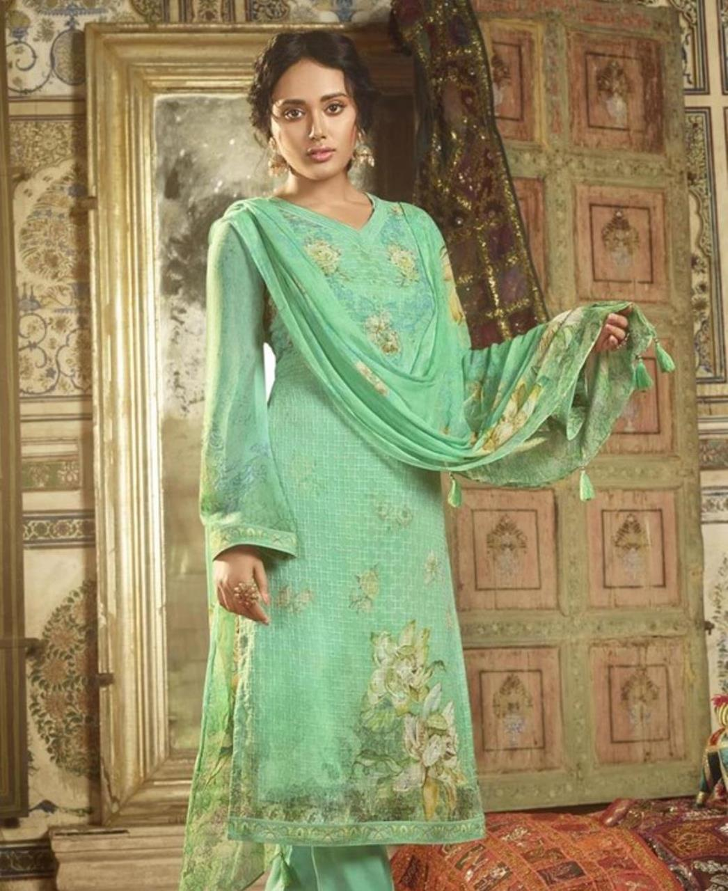 Stone Work Georgette Straight cut Salwar Kameez in Sea Green