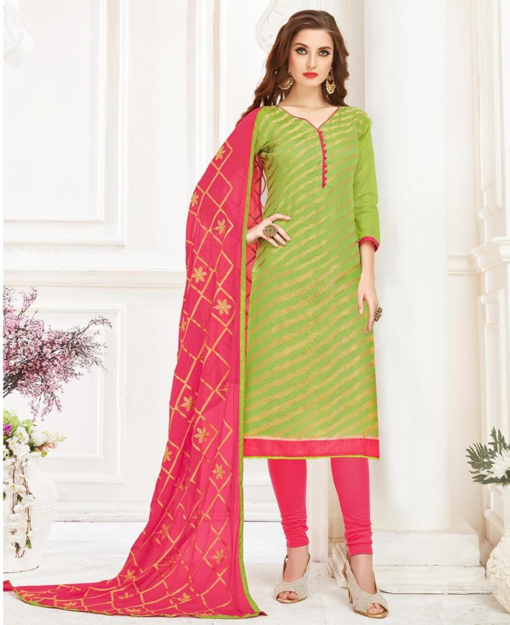 Embroidered Banarasi Silk LimeGreen Straight Cut Salwar