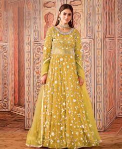 Thread Net Abaya Style Salwar in Mustard