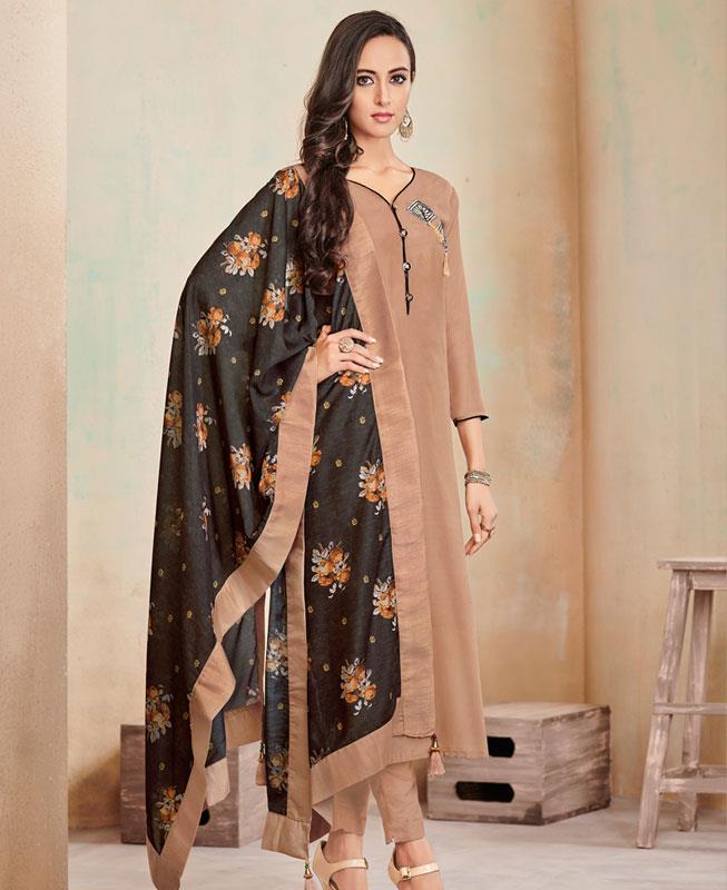 Butta Work Cotton Beige Straight Cut Salwar