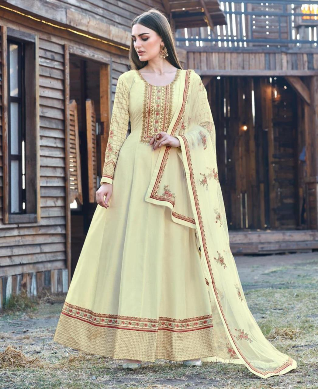 Embroidered Silk Abaya Style Salwar in Cream