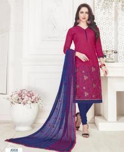 Embroidered Cotton Straight cut Salwar Kameez in Rani