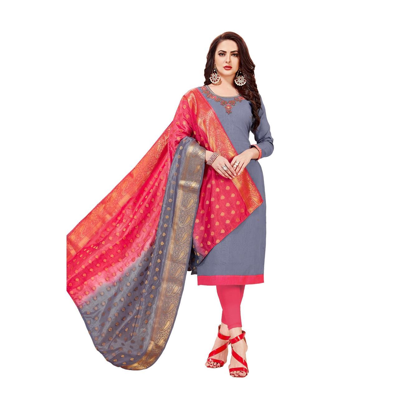 HandWorked Cotton Gray Straight Cut Salwar