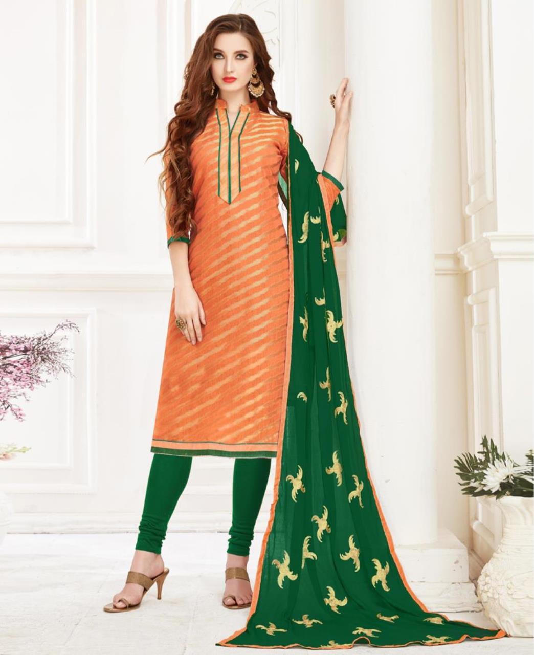Embroidered Banarasi Silk Orange Straight Cut Salwar