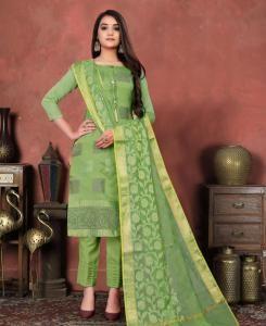 Jacquard Straight cut Salwar Kameez in Parrot Green