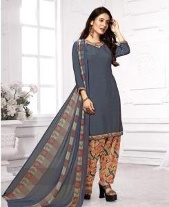 Printed Georgette Straight cut Salwar Kameez in Dark Grey