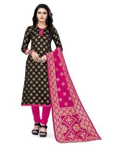 Silk Straight cut Salwar Kameez in Black