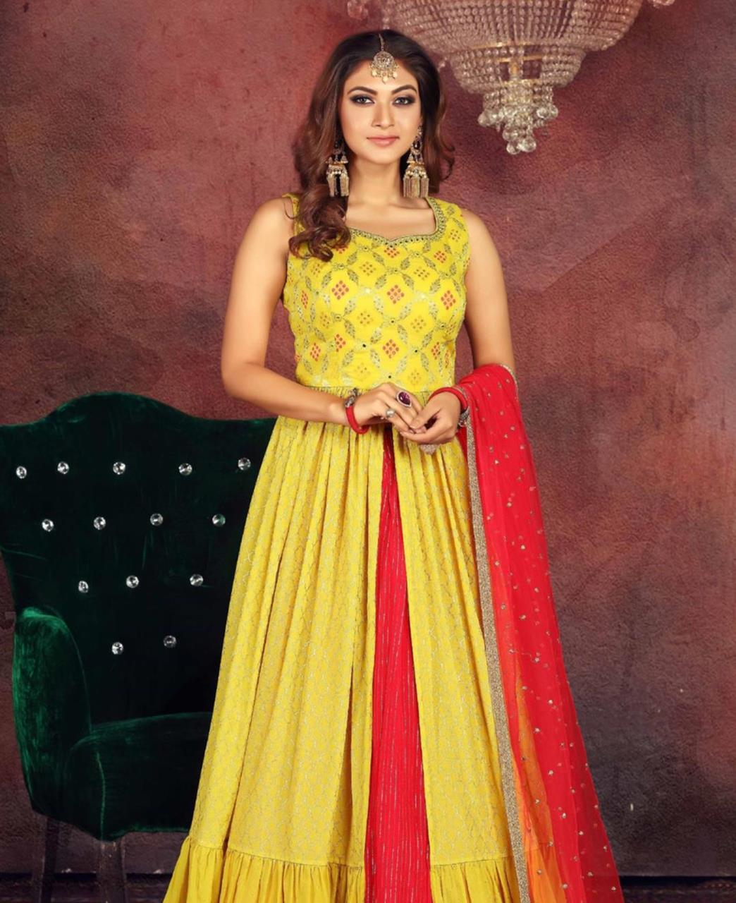 Net Straight cut Salwar Kameez in Yellow