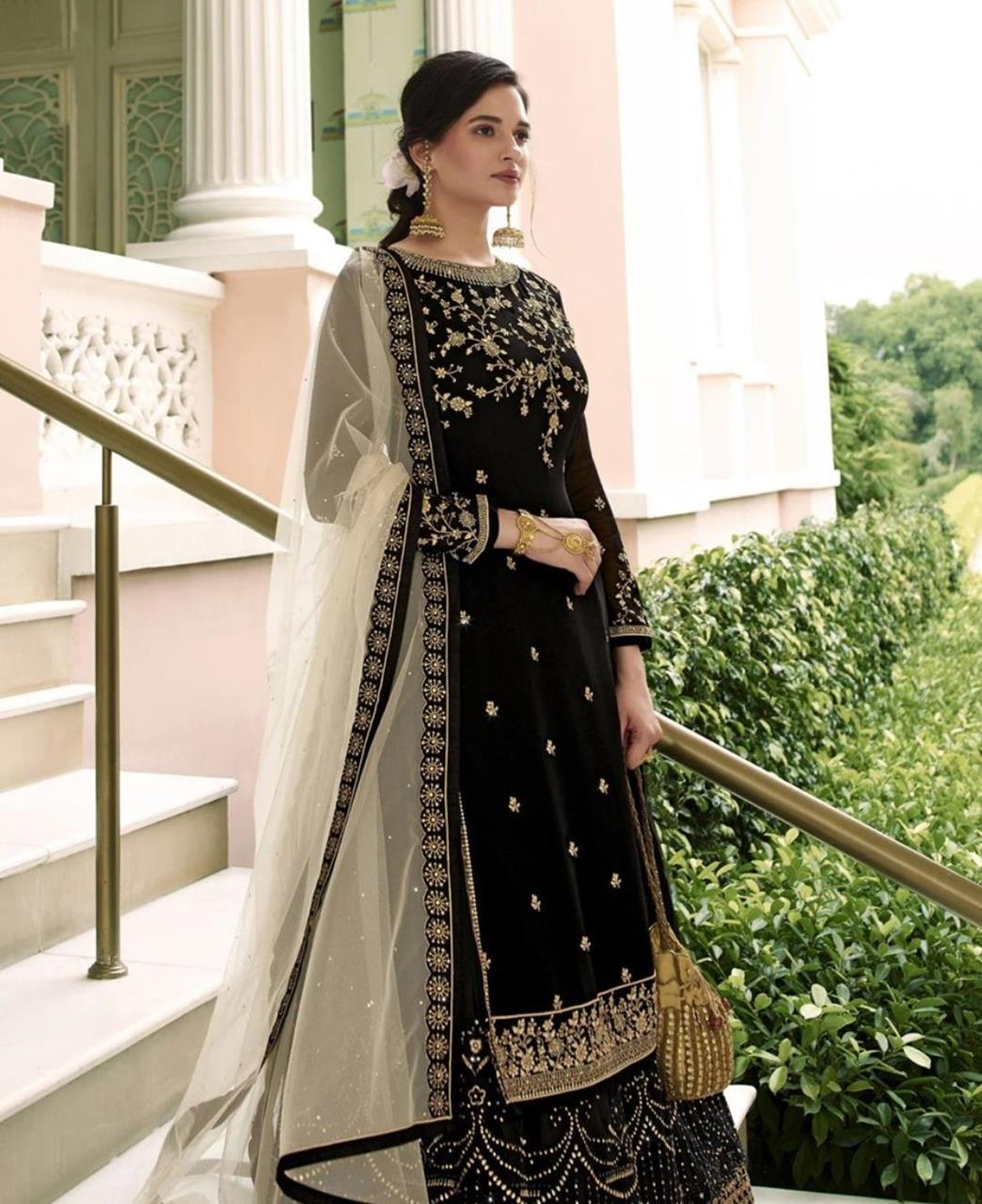 Thread Georgette Abaya Style Salwar in Black