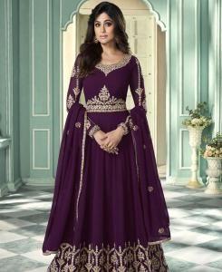 Thread Georgette Abaya Style Salwar in Purple