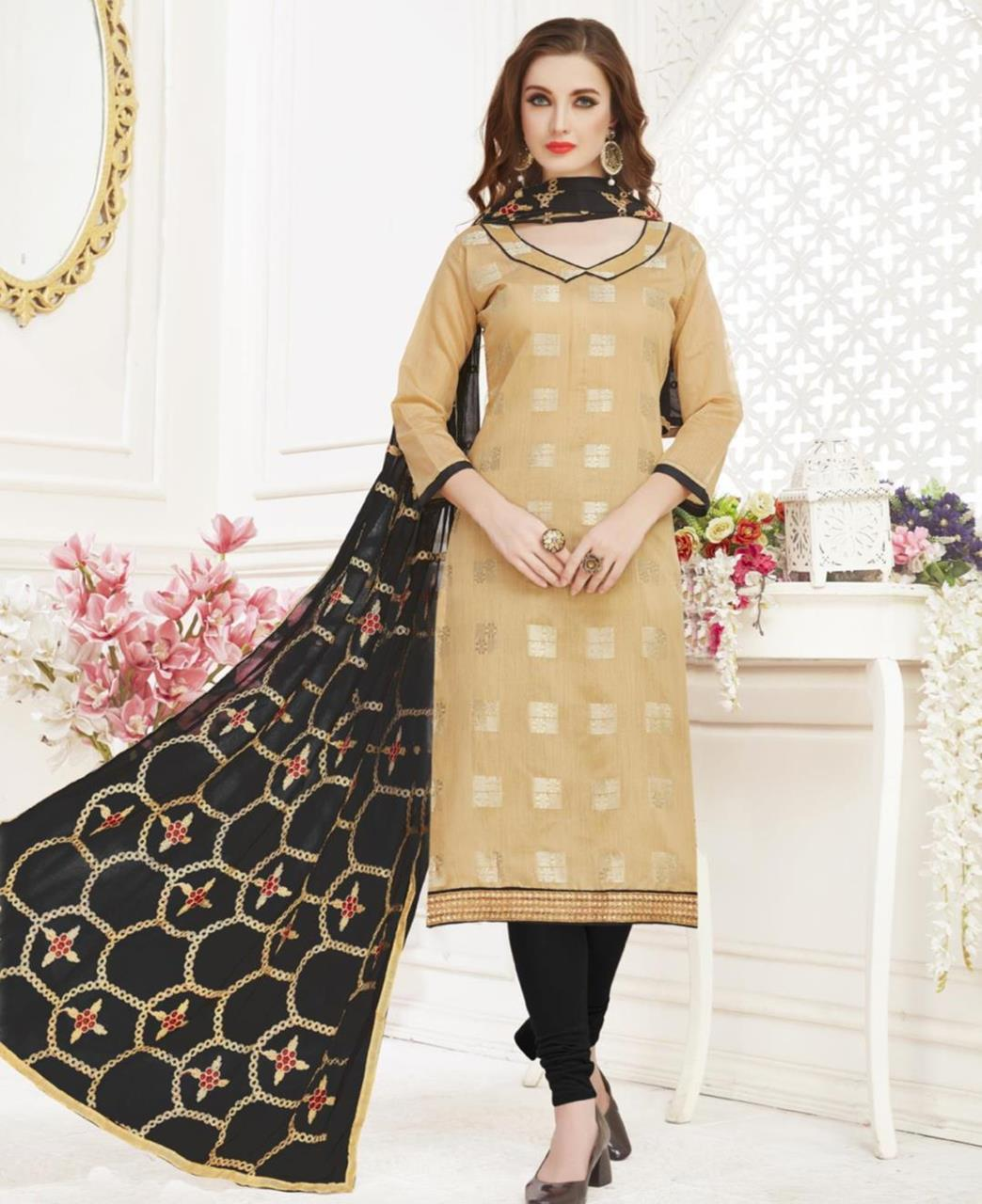Embroidered Banarasi Silk Beige Straight Cut Salwar