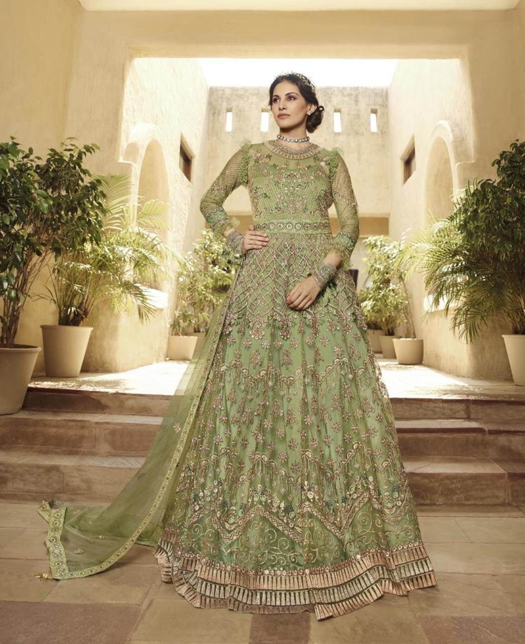HandWorked Net Abaya Style Salwar in Green