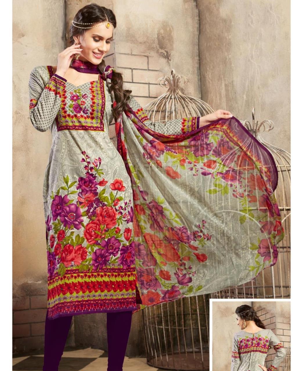 Printed Cotton Grey Straight Cut Salwar