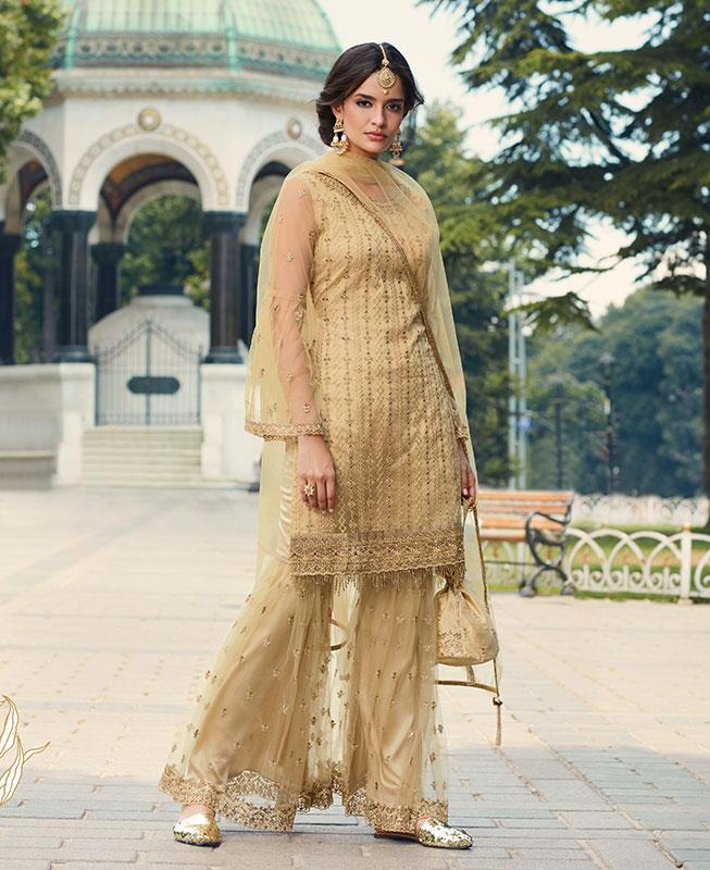 Thread & Zari Work on Net Abaya Style Salwar in Yellow