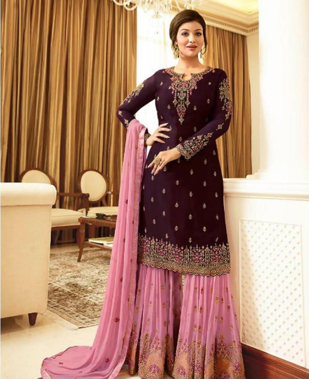 Embroidered Georgette Straight cut Salwar Kameez in Purple