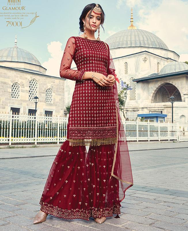 Abaya Style Salwar in Red