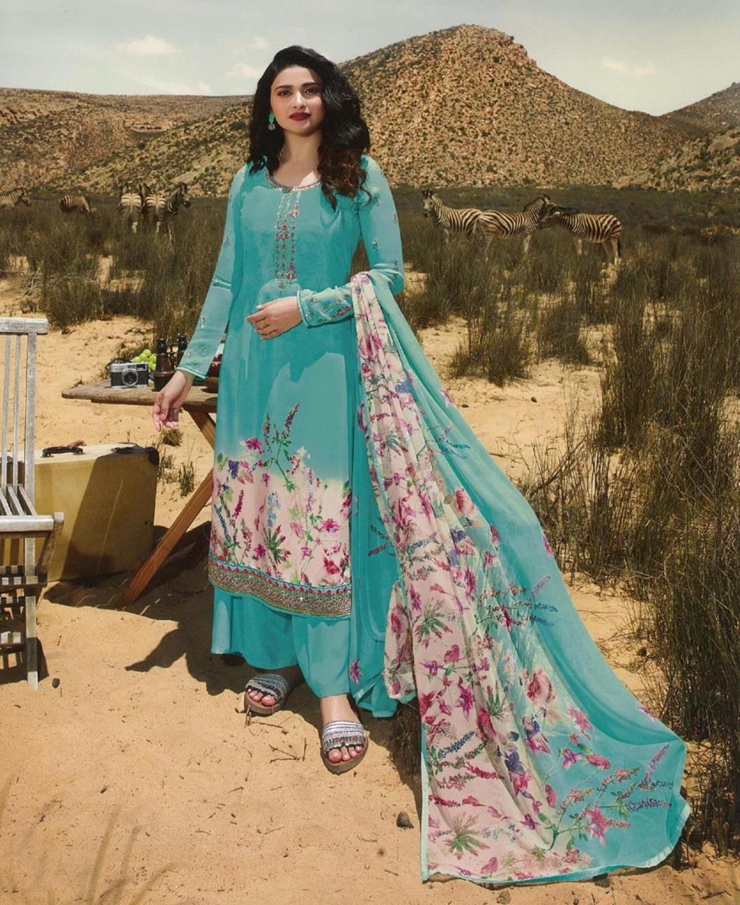 Resham Crepe Straight cut Salwar Kameez in Turquoise Blue