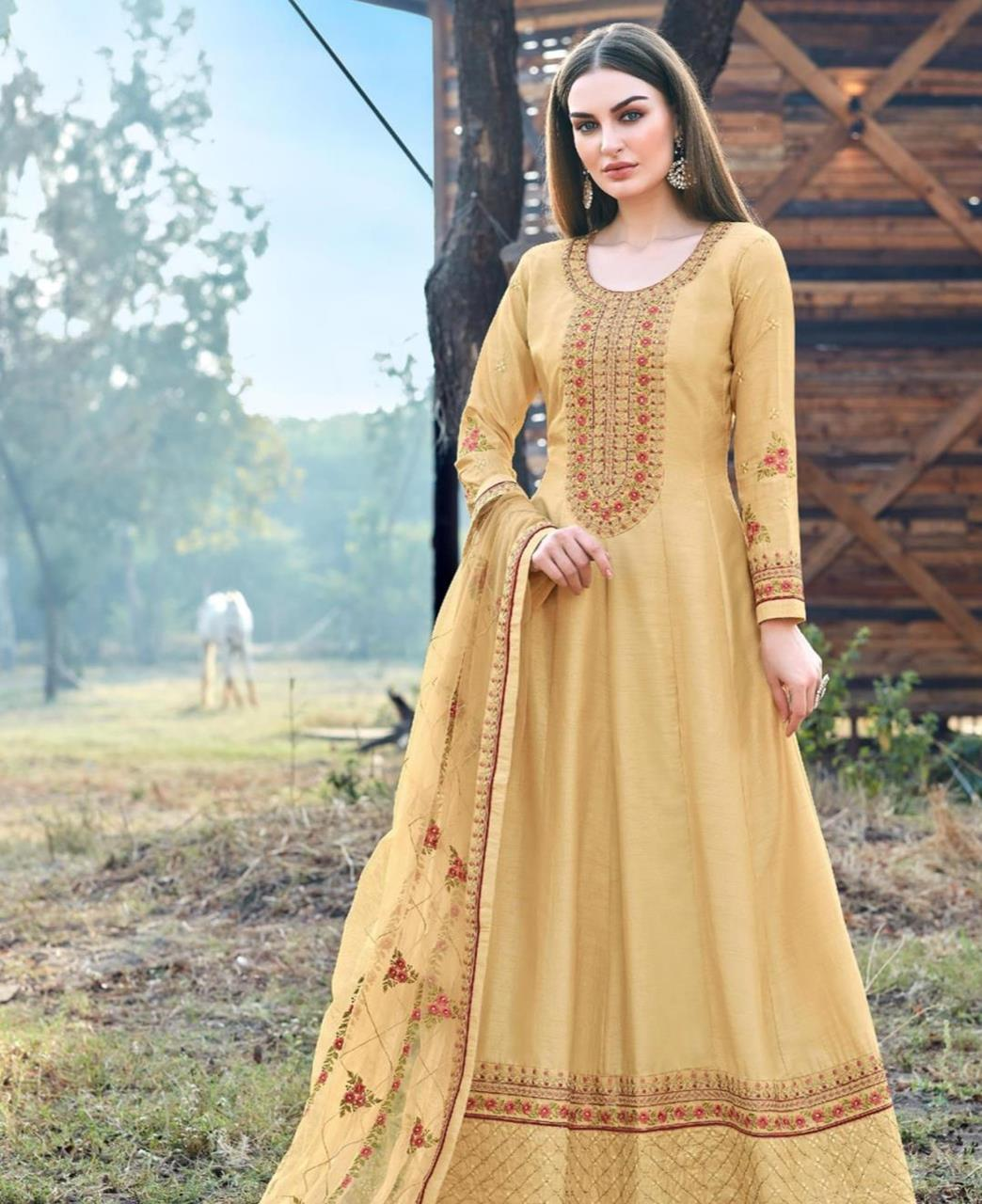 Embroidered Silk Abaya Style Salwar in Light Yellow