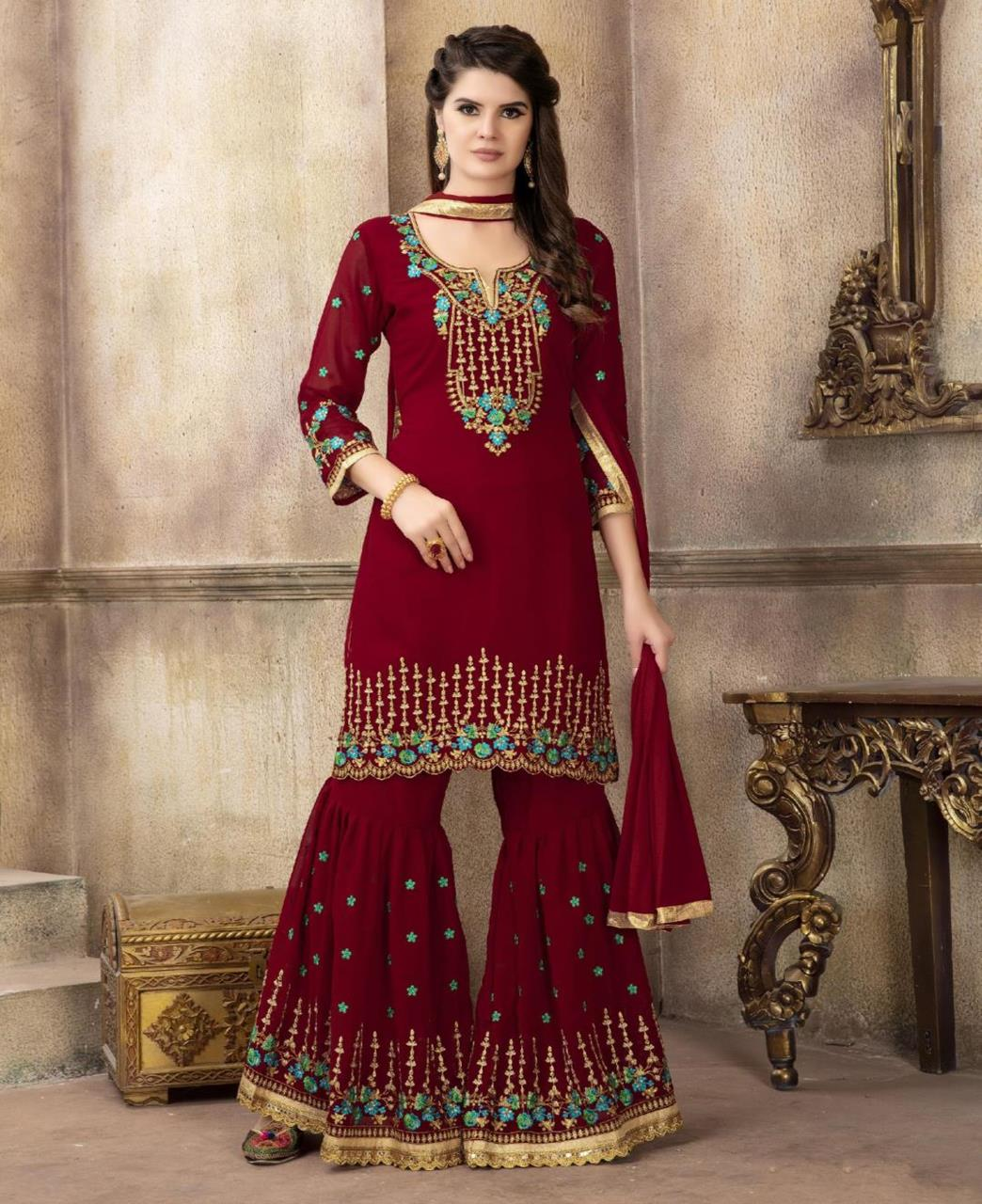 Embroidered Georgette Red Palazzo Suit Salwar Kameez