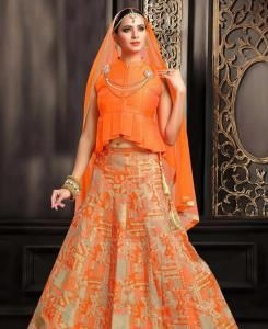 HandWorked Silk Straight cut Salwar Kameez in Orange