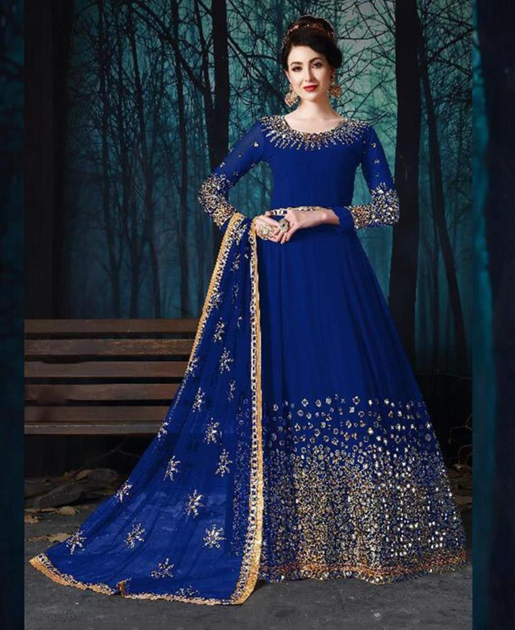 Embroidered Georgette Blue Abaya Salwar