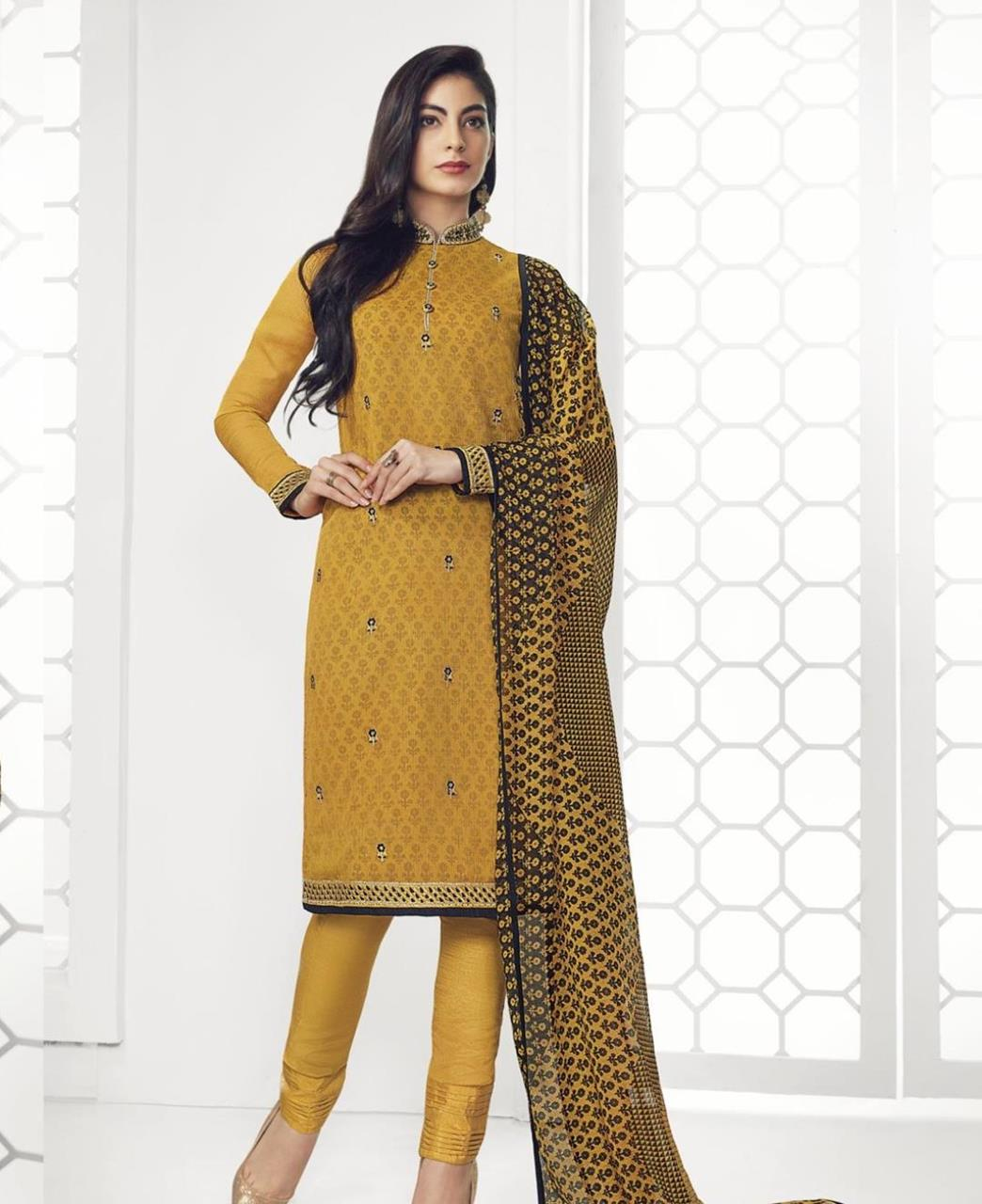 Stone Work Georgette Straight cut Salwar Kameez in Musturd Yellow