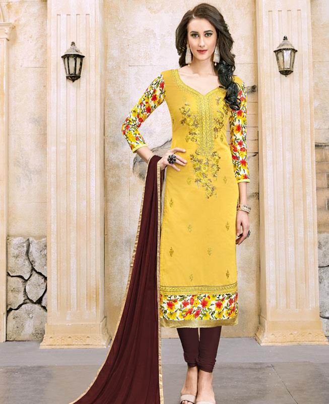Border Work Chanderi Cotton Yellow Straight Cut Salwar Kameez