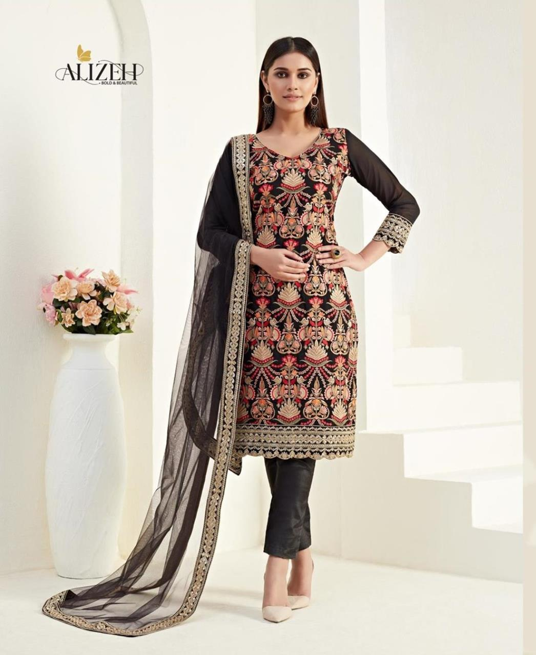 Thread Georgette Straight cut Salwar Kameez in Black