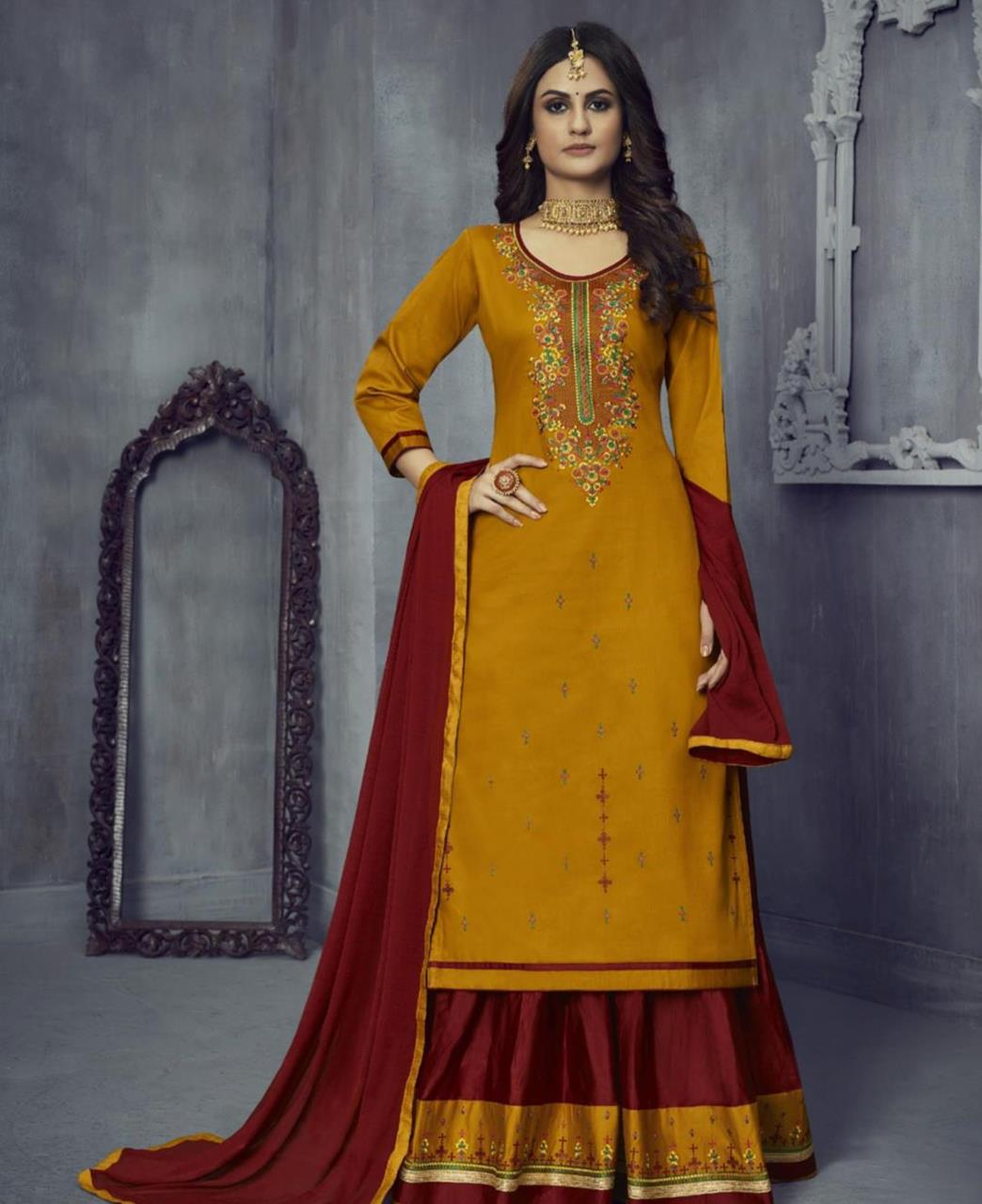 Embroidered Cotton Abaya Style Salwar in Musterd
