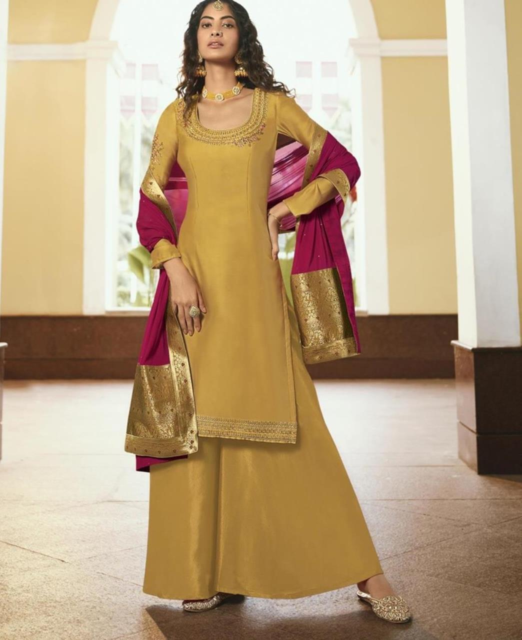 Resham Georgette Straight cut Salwar Kameez in Mustard
