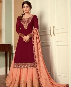 Thread Georgette Abaya Style Salwar in Maroon