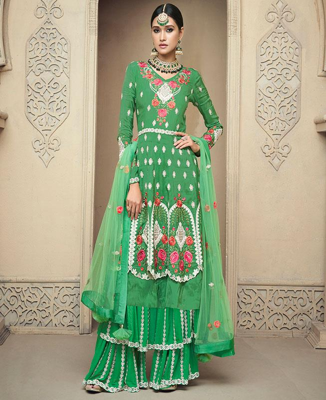 Embroidered Georgette Green Palazzo Suit Salwar