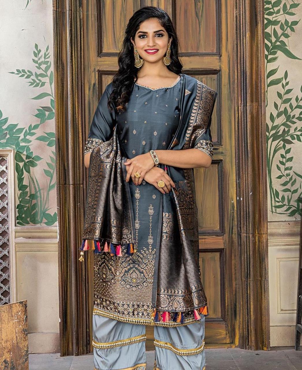 Embroidered Banarasi Silk Gray Palazzo Suit Salwar