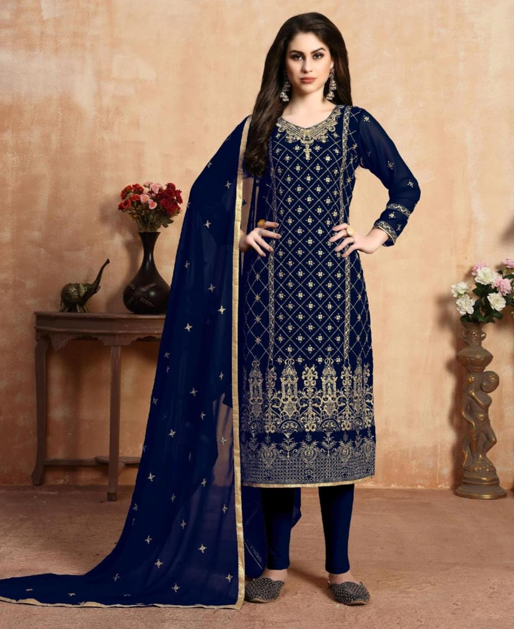 Embroidered Georgette Straight cut Salwar Kameez in Navy Blue