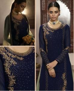 Embroidered Georgette Abaya Style Salwar in Nevy Blue