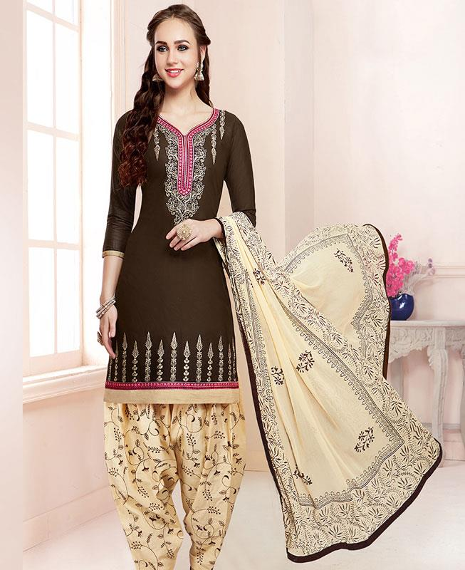 Embroidered Cotton Brown Patiyala Salwar