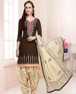 Embroidered Cotton Brown Patiyala Salwar