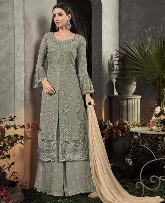 Embroidered Georgette OLIVE Palazzo Suit Salwar