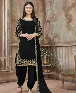Embroidered Georgette Patiyala Suit Salwar in Black