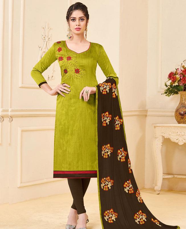 Embroidered Bangalore Silk Green Straight cut Salwar