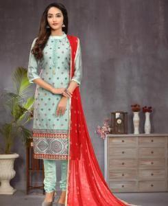 Jacquard Straight cut Salwar Kameez in Light Turquoise