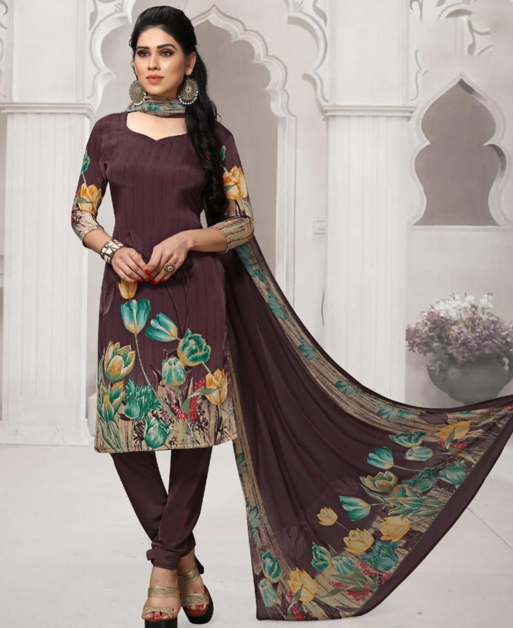 Floral Print Crepe Brown Straight Cut Salwar