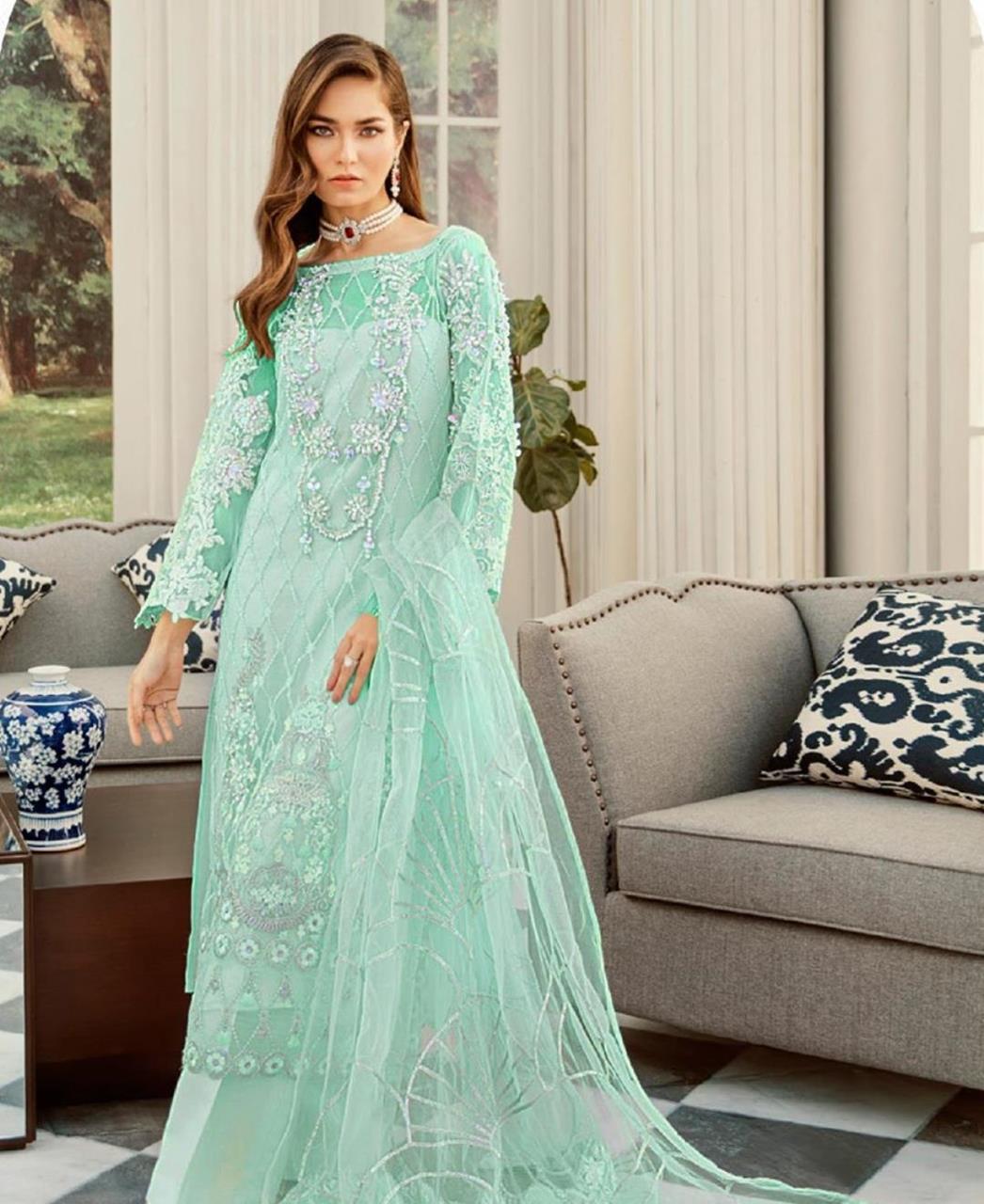 Thread Net Straight cut Salwar Kameez in Sea Green