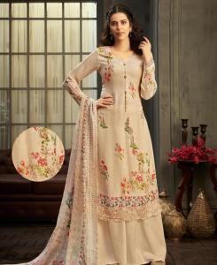 HandWorked Georgette Straight cut Salwar Kameez in Cream