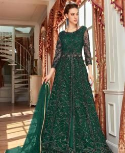 Sequins Net Abaya Style Salwar in Green
