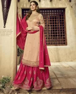Embroidered Georgette Cream Palazzo Suit Salwar