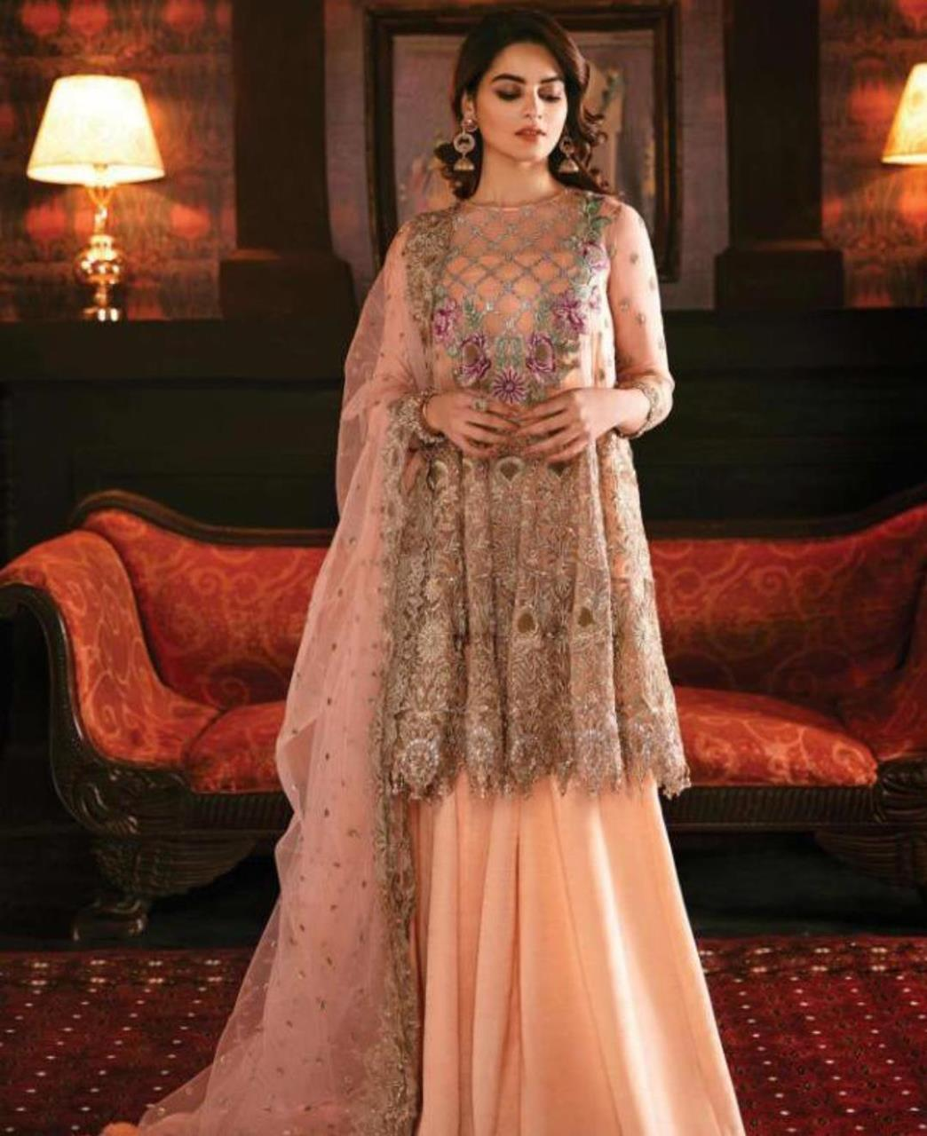 Embroidered Georgette Abaya Style Salwar in Peach