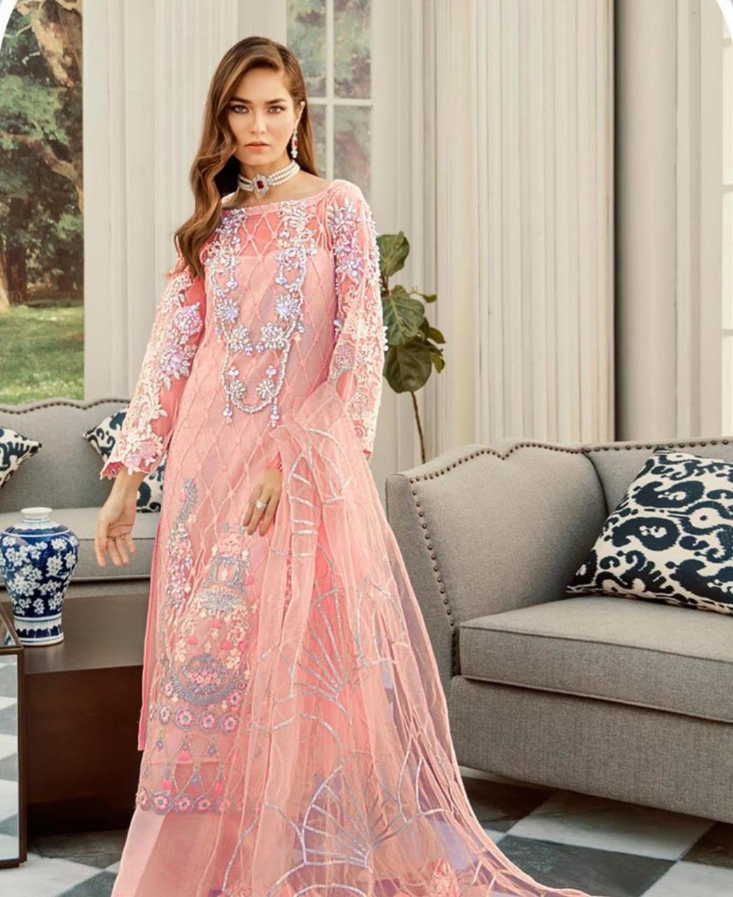 Thread Net Straight cut Salwar Kameez in Peach
